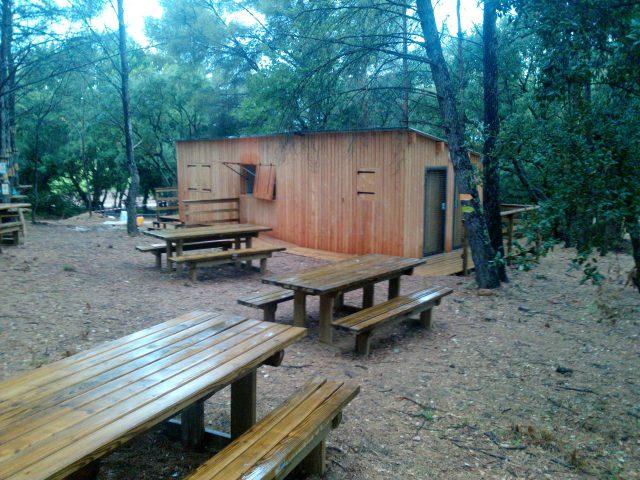 Accueil bois parc de Lacrau